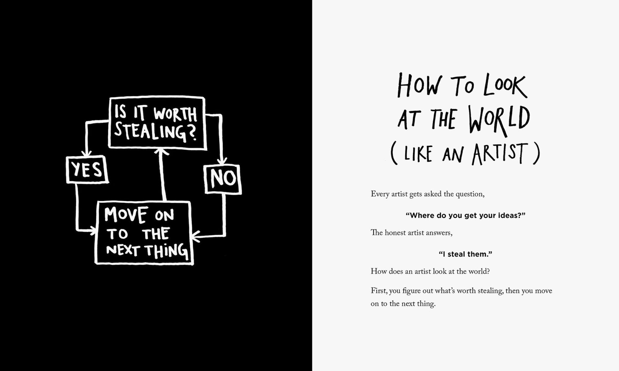 Página de Steal Like an Artist. Cómo mirar el mundo como un artista. Derechos: Austin Kleon.