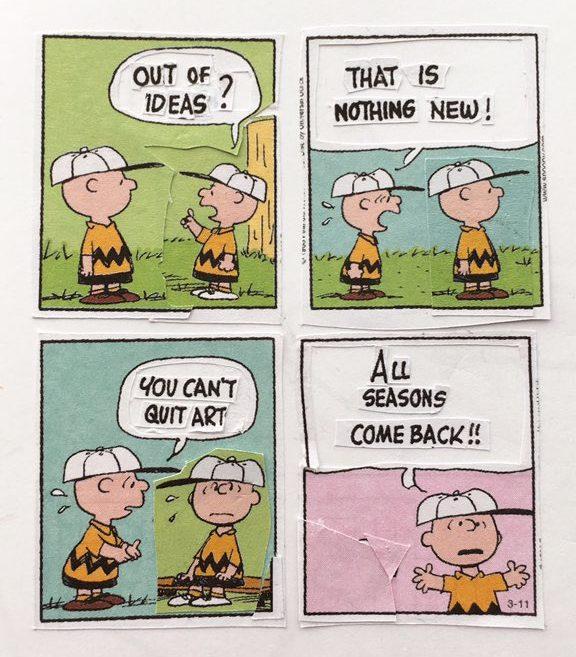 Remix de las tiras de Peanuts, de Charles M. Schulz. Derechos: Austin Kleon.